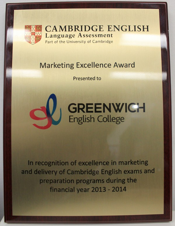 Greenwich English College winner of Cambridge Marketing award