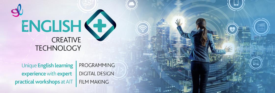 greenwich english+ creative technology website banner